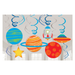 Blast Off Birthday Swirl Decorations - 12 PKG/12