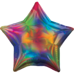 Rainbow Iridescent Star Standard HX Packaged Foil Balloons S40 - 5 PC