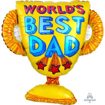 """Best Dad Trophy SuperShape XL Foil Balloons 26""""/66cm x 27""""/68cm P30 - 5 PC"""