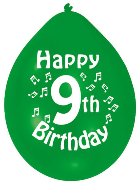 Happy 9th Birthday Latex Balloons