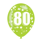 """Age 80 Assorted Colours Latex Balloons 11""""/27.5cm - 10 PKG/6"""