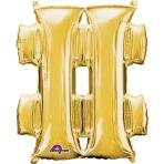 """Symbol # Gold SuperShape Foil Balloons 34""""/""""86cm P50 - 5 PC"""