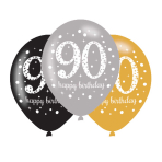 "Gold Celebration Happy 90th Birthday Latex Balloons 11""/27.5cm - 6PKG/6"