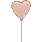 "Rose Gold Solid Colour Heart Foil Balloons 9""/23cm D05 - 10 PC"