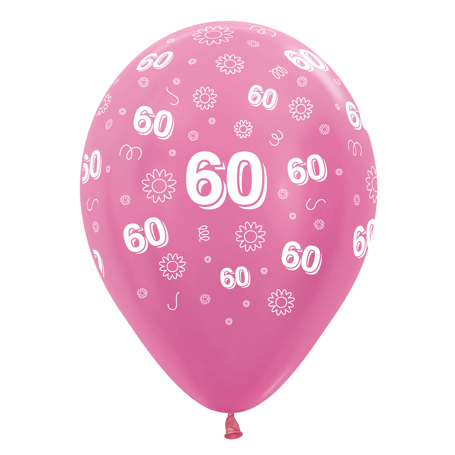60th Birthday Flowers Pink 412512 Mix Latex Balloons 1230cm 25