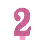 Giant Size Numeral Pink Glitter Candles 13.3cm #2 - 12 PC
