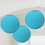 Caribbean Blue Paper Lanterns 24cm - 6 PKG/3
