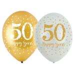 """Sparkling Golden Anniversary 4 Sided Latex Balloons 11""""/27.5cm - 6 PKG/6"""