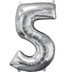 "Number 5 Silver SuperShape Mid-Size Foil Balloons 18""/45cm w x 26""/66cm h P31 - 5 PC"