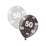 "50th Birthday Shimmering Silver & Deepest Black Printed Latex Balloons 11""/27.5cm - 25 PC"
