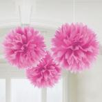 Bright Pink Fluffy Paper Decorations 40cm - 6 PKG/3