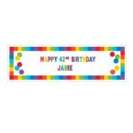Primary Rainbow Happy Birthday Giant Customisable Banner Kits 1.65m x 50cm - 12 PC