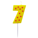Dots & Stripes Birthday Candles Number 7 - 4.5cm - 12 PKG
