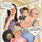 Sparkling Golden Anniversary Photo Props - 6 PKG/12