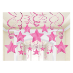 Bright Pink Swirl Decorations - 6 PKG/30