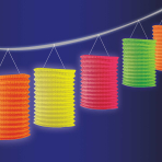 Neon Paper Lantern Garlands 3.65m - 12 PC