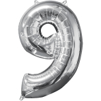 "Number 9 Silver SuperShape Mid-Size Foil Balloons 17""/43cm w x 26""/66cm h P31 - 5 PC"
