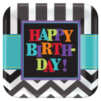 Celebration Square Paper Plates Happy Birthday 23cm - 6 PKG/8