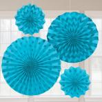 Caribbean Blue Glitter Paper Fans - 6 PKG/4