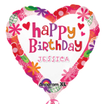 Happy Birthday Floral Heart Personalised Standard Foil Balloons S70 - 5 PC