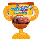 "Cars Trophy 4th Birthday SuperShape Foil Balloon 26""/66cm w x 22""/68cm h P38 - 5 PC"