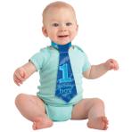 1st Birthday Blue Fabric Tie 23cm - 6 PC