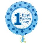 1st Birthday Boy Standard Foil Balloons S40 - 5PC