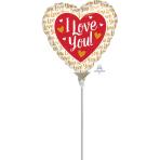 I Love You Gold Mini Shape Foil Balloons A15 - 5 PC