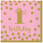 1st Birthday Girl Gold Beverage Napkins 25cm - 12 PKG/16