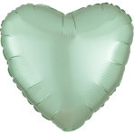 Mint Green Heart Satin Luxe Standard HX Packaged Foil Balloons S15 - 5 PC