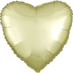 Pastel Yellow Heart Satin Luxe Standard HX Packaged Foil Balloons S15 - 5 PC