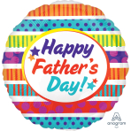 Happy Father's Day Stripes & Dots Standard Foil Balloons S70 - 5 PC