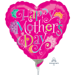 Happy Mother's Day Doodle Mini Foil Balloons A15 - 5 PC