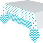 Caribbean Blue Chevron Plastic Tablecovers 1.37m x 2.6m - 6 PC