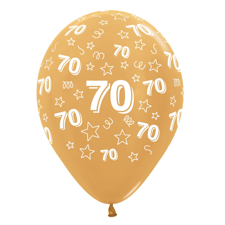 70th Birthday Stars Silver 481 Gold 570 Black 580 Mix Latex Balloons 12 30cm