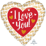 "I Love You Gold Jumbo Foil Balloons 28""/71cm w x 28""/71cm h P32 - 5 PC"