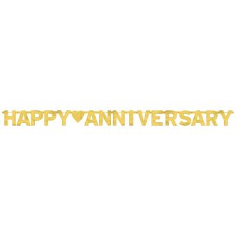 Happy Anniversary Gold Foil Letter Banners 2m x 15.8cm - 12 PC