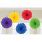 Rainbow Mini Paper Fans 15cm - 6 PKG/5