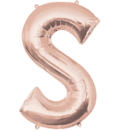 Letter S Rose Gold SuperShape Foil Balloons 21/53cm w x 35/88cm h P50 - 5 PC