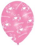 All Round Printed Christening Pink Latex Balloons - 27.5cm 10 PKG/6
