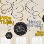Gold Sparkling Celebration Swirl Decorations - 12 PKG/12