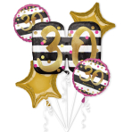 Pink & Gold 30th Birthday Foil Balloon Bouquets P75 - 3 PC