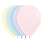 "Pastel Matte Solid Assorted Latex Balloons 12""/30cm - 50 PC"