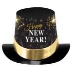 Black/Silver/Gold Print Top Hats 15cm - 24 PC