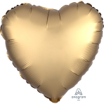 Gold Sateen Heart Satin Luxe Standard HX Packaged Foil Balloons S15 - 5 PC