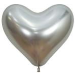 "Reflex Crystal Silver Heart 981 Latex Balloons 14""/35cm - 50 PC"