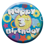Happy 3rd Birthday Badges Small 55mm Holographic - 12 PKG