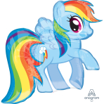 """My Little Pony Rainbow Dash SuperShape Foil Balloons 28""""/71cm w x 27""""/68cm h P38- 5 PC"""