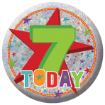 Happy 7th Birthday Holographic Badges 5.5cm - 12 PKG
