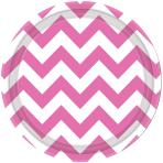 Bright Pink Chevron Paper Plates 18cm - 12 PKG/8